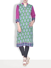 Green Cotton Printed Three Quarter Sleeved Neck Kurta - By