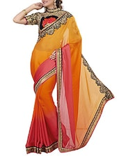 Red Velvet Ombre Printed Embroidered Saree - By