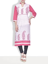 Pink Cotton Paisley Printed Three Quarter Sleeved Casual Kurta - By