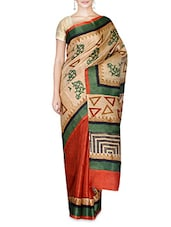 Multicoloured Bhagalpuri Khadi Silk  Printed Saree - By