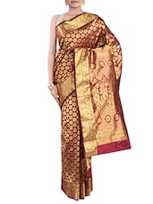 Maroon And Gold Brocade Silk Saree - By