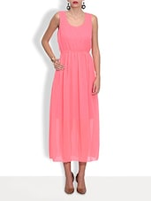 Pink Poly Georgette Long Dress - By
