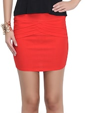 Red Poly Georgette Mini Skirt - By
