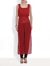 Red Poly Georgette Cap Dress - By