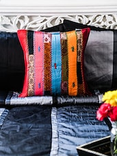 Multicolored Cotton Embroidered Cushion Cover - By