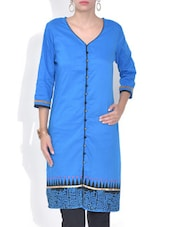 Blue Printed Poly Cotton Kurta - By