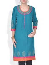 Teal Blue Printed Cotton Kurta - By