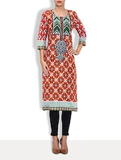 Red Cotton Printed Three Quarter Sleeved Long Kurta - By