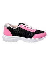 Pink And Black Faux Leather Sports Shoes - By