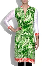 White And Green Printed Rayon Kurta - By