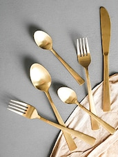 Gold Stainless Steel 24 Piece Cutlery Set - By