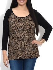 Brown And Black Leopard Printed Cotton Top - By