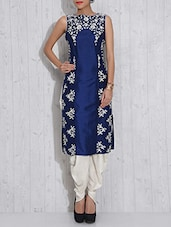 Royal Blue And White Dupion Silk Embroidered Dhoti Suit - By