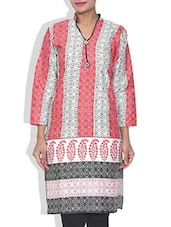 White And Brick Red Printed Cotton Kurta - By