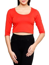 Solid Red Cotton Lycra Crop Top - By