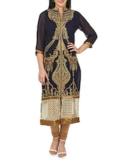 Black Heavy Embroidered Georgette Kurta - By