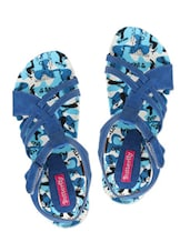 Blue Faux Leather Printed Open Toe Flat Sandals - By