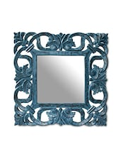 Blue MDF Scroll And Leaf Work Mirror - By