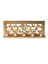 Scroll Worked Gold Wood And Mirror Tea Light Holder - By