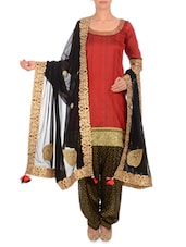 Black Embellished Georgette Dupatta - By