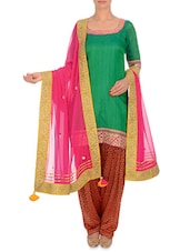 Pink Embellished Georgette Dupatta - By