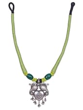 Green Beaded Necklace With Sterling Silver Pendant - By