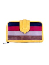 Yellow Vegan Leather Striped Wallet - By