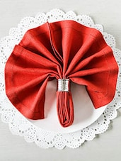 Red Viscose Cotton Square Table Napkins (Set Of 6) - By