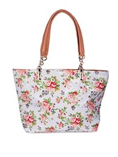 White Floral Printed Leatherette Handbag - By