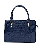 Solid Navy Blue Leatherette Textured Handbag - By