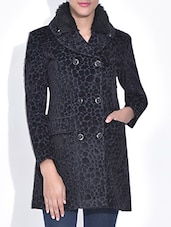 Black Velvet Printed Coat - By