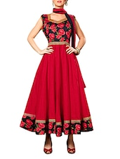 Red Printed Banglori Silk Semi-Stitched Anarkali Suit Set - By