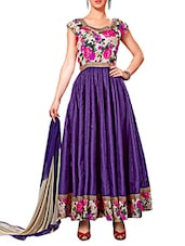 Violet Printed Banglori Silk Semi-Stitched Anarkali Suit Set - By