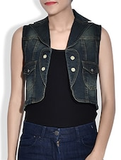 Green Denim Sleeveless Waist Coat - By