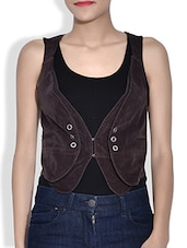 Brown Corduroy Sleeveless Waist Coat - By