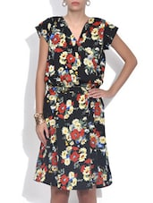 Black Floral Printed Crepe Dress - By