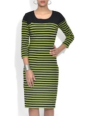 Green Striped Quarter Sleeved Cotton Knit Dress - By