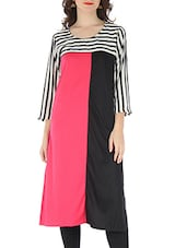 Black And Pink Rayon Viscose Kurti - By - 9595793