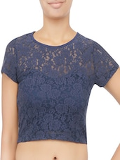 Navy Blue Embroidered Lace Crop Top - By