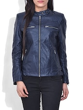 Navy Blue Faux Leather Full Sleeved Jacket - By
