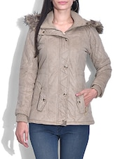 Beige Hooded Suede Quilted Jacket - By