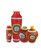 Warli Hand Painted Red Terracotta Vases (Set Of 4) - By