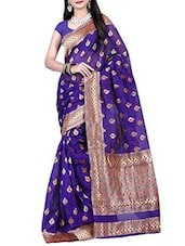 Blue Handloom Silk Saree With Blouse Piece - By