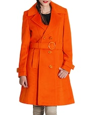 Red Woolen Felt  Long Coat - By - 9598481