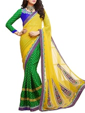 Yellow And Green Jacquard Embroidered Georgette Saree - By