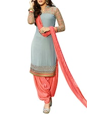 Embroidered Grey And Peach Georgette Unstitched Suit Set - By