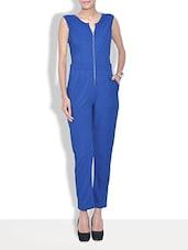 Blue Cotton Plain Jumpsuit - By
