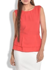 Solid Orange Georgette And Crepe Peplum Top - By