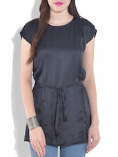 Solid Navy Blue Satin Tunic - By