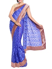 Blue Net Embroidered Saree With Blouse Piece - By